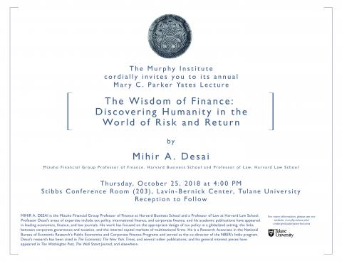 Poster for Mihir Desai at 2018 Yates Lecture